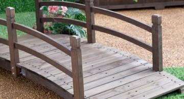 DIY garden bridge with low railing
