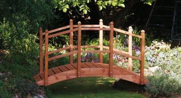 DIY garden bridge with tall railings