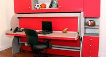 Desk bed combo in red