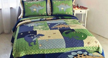 Dinosaur themed bedroom in blue and green