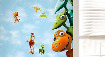 Dinosaur themed bedroom with cute and funny faces