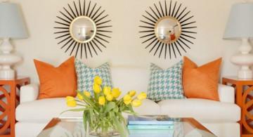 Elegant and minimalist retro modern decor style featuring twin suns wall art
