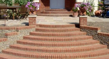 Garden stairs from bricks