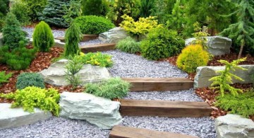Garden stairs from stone with wood lining