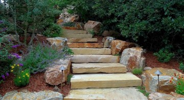 Garden stairs slabs of stone