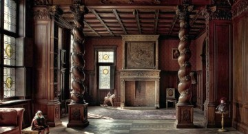 Gothic bedrooms with pillars