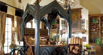 Gothic bedrooms with unique four poster bed