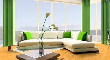 Grey and Green living room with green curtains