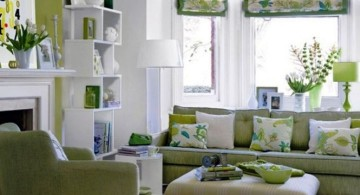 Grey and Green living room with plush coffee table