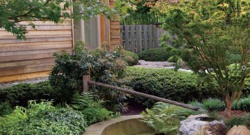 Japanese landscape design with bamboo fountain