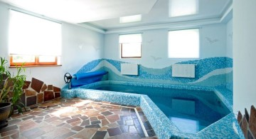 L shaped enclosed swimming pool