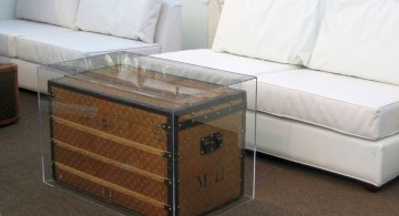 LV in acrylic trunk coffee table