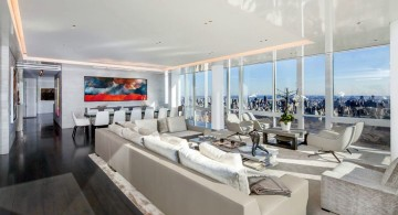 Manhattan Penthouse living and dining area