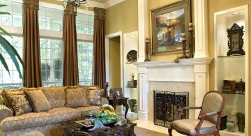 Tuscan living room decor with fireplace