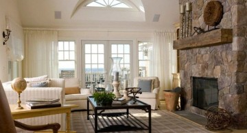 Tuscan living room decor with stone fireplace