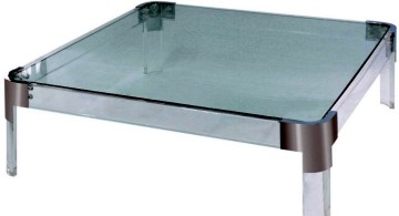 acrylic cocktail table with steel on corner