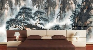 asian inspired bedroom with nature painting wall panel