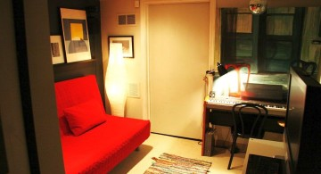 bedroom basement ideas with red murphy bed for limited space