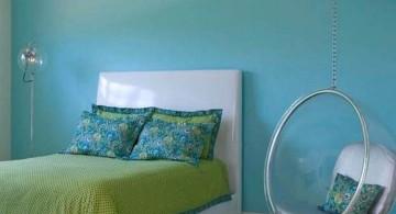bedroom swings in blue room
