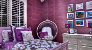 bedroom swings in glamour purple room