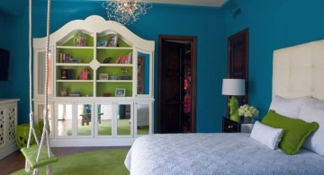 bedroom swings in green and blue room