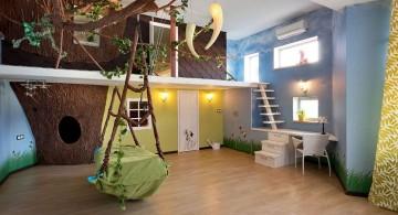 bedroom swings in nature themed room
