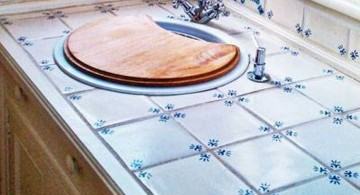 blue retro tiles cheap countertop solution
