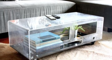 box style square lucite coffee table