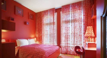 bright simple red bedroom walls