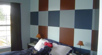 brown and blue bedroom with checkered panel