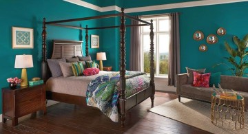 brown and blue bedroom with classic four poster