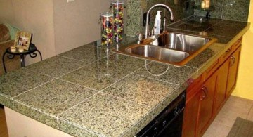 cheap countertop solution with fake granite tiles