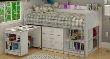 classic vintage white loft bed design with desk and storage underneath