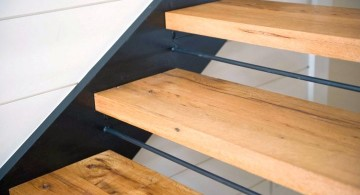 close up on floating wood staircase