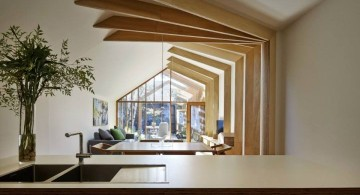 contemporary faux exposed beam ceiling