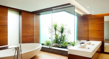 contemporary wood bathroom with inner garden