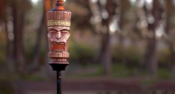 cool tiki torches with tiki mask