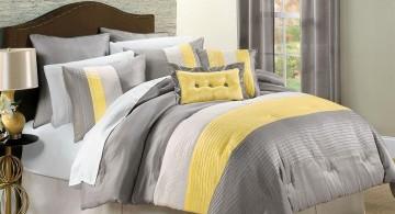 cozy stripes yellow gray bedroom