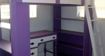desk and bed combination in purple and white