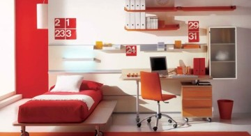 desk and bed combination in red