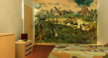 dinosaur wallpaper mural design in brown room