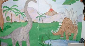 dinosaur wallpaper mural on a built in closet