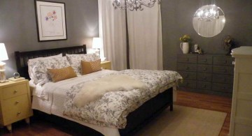 elegant bedroom basement ideas with chandelier