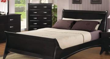 elegant beds in dark wood