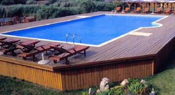 elegant with wooden deck small pool ideas