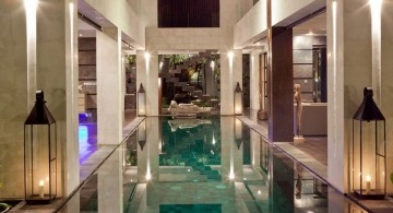 enclosed swimming pool with unique lighting
