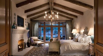 exposed beam ceiling for an elegant bedroom