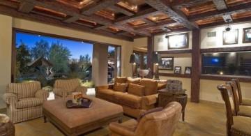 exposed beam ceiling in squares