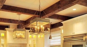 exposed beam ceiling with a chandelier