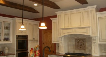 faux exposed beam ceiling for the kitchen